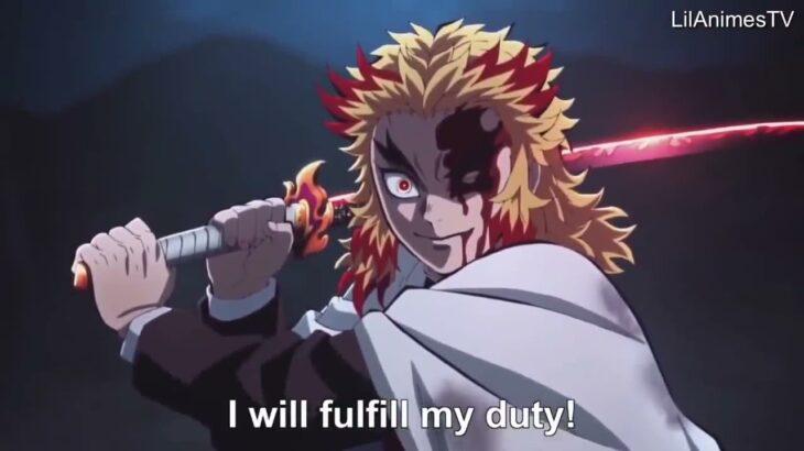 【鬼滅の刃】無限列車編 煉獄VS猗窩座の戦い Rengoku vs Akaza Full Fight Kimetsu no Yaiba The Movie Mugen Train Engsub